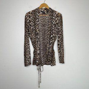 Elie Tahari Leopard Lightweight Linen Silk Top